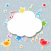 Music notes with speech bubble — Stock Vector