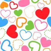 Patrón con corazones de colores — Vector de stock