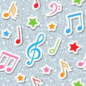 Pattern with music notes and stars vector — Stock Vector