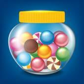 Jar of sweets — Vetor de Stock