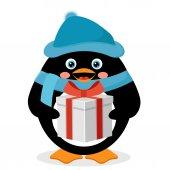 пингвин с подарочной коробке — Cтоковый вектор