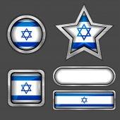 Israel flag icons — Vector de stock
