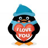 Penguin with red heart — Vector de stock