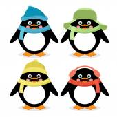 Collection of cute penguins — Stock Vector