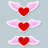 Heart with wings collection — Stock Vector