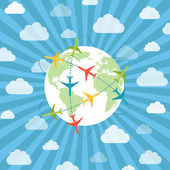 Globe with airplanes — Stock Vector