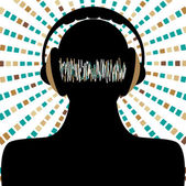 Man silhouette with headphones and sound waves — 图库矢量图片