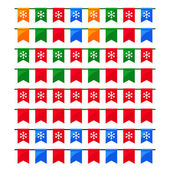 Collection of colorful Christmas garlands with flags for use as brushes — Stock Vector