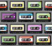 Seamless pattern with old audio cassettes — Stock Vector