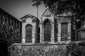 Three Stone Family Mausoleums in Black and White — Stock Photo
