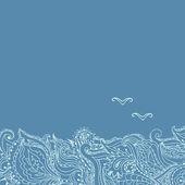 Motifs sea waves and gulls — Stock Vector