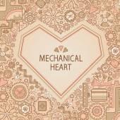 Frame mechanical heart — Stock Vector