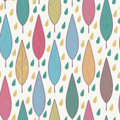 Pattern with leaves and raindrops — Stock Vector