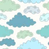 Seamless mönster med moln. — Stockvektor