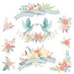 Bouquets, love birds — Stock Vector #56814165
