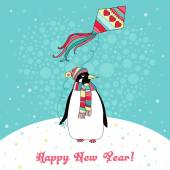 Christmas card with penguin — Stock Vector