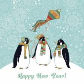 Christmas card with penguins. — Stock Vector