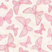 Pattern with pink butterflies. — Stock Vector