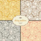 Seamless  daisies patterns. — Stockvector
