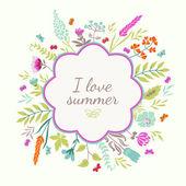 κάρτα με λουλούδια και πεταλούδες — Διανυσματικό Αρχείο