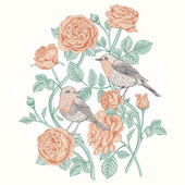 Card with roses and birds. — Stock Vector
