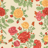 Pattern with  roses and berries — Vettoriale Stock