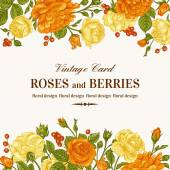 Wedding invitation with  roses — Stock Vector