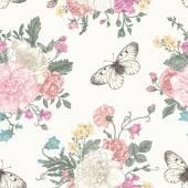Seamless  pattern  flowers and butterflies. — Stock Vector