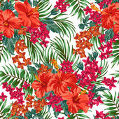 Seamless exotic pattern with tropical leaves and flowers on a white background. Hibiscus, monstera, palm. Vector illustration. — Stockvektor