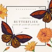 Cartão com flores e borboletas. — Vetor de Stock