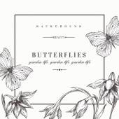 Background with flowers and butterflies. — Stock Vector