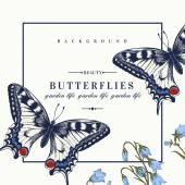 Kort med fjärilar och blommor. — Stockvektor