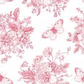 花と蝶パターン. — ストックベクタ