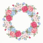 Floral round frame. — Stock Vector