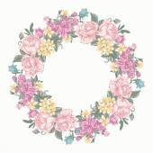 Floral round wreath. — Stock Vector