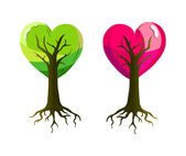 A Valentine with a couple of heart shaped trees — Stock Vector