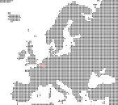 Pixel map of europe showing Belgium — Stok fotoğraf