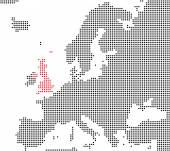 Pixel map of europe showing Great Britain — Stock Photo