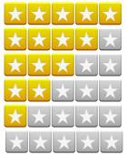 Review Buttons orange and gray — Stock Photo