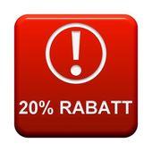 Button - 20 Percent  discount — Stock Photo