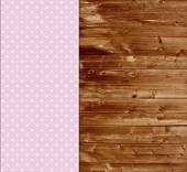 Traditional wooden background with light pink tablecloth — Stock Photo
