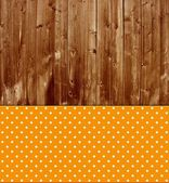 Traditional wooden background with orange tablecloth — Stock Photo