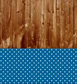 Traditional wooden background with blue tablecloth — Stock Photo