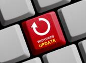 Computer Keyboard with Symbol showing Important update — Stock Photo