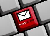 Computer Keyboard with Symbol showing newsletter — Stock Photo