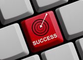 Computer Keyboard with Symbol showing success — Stock Photo