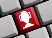 Computer Keyboard with Symbol showing trophy — Stock Photo