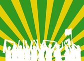 Celebrating Party people with green and yellow background — Stock Photo
