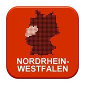 Red Button - German region Nordrhein-Westfalen — Stock Photo