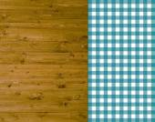 Traditional wooden background with tablecloth turquoise — Stock Photo